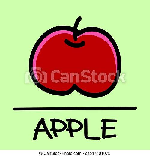 apple hand-drawn style,Vector illustration. - csp47401075
