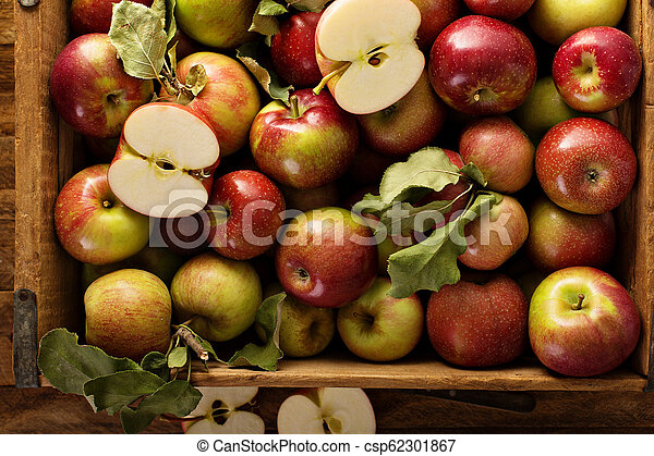 Apple harvest in a wooden crate - csp62301867