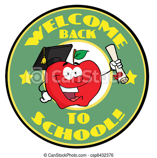 welcome back to school circle and student apple holding a clip rh canstockphoto com welcome back to school clipart free welcome back to school clipart images