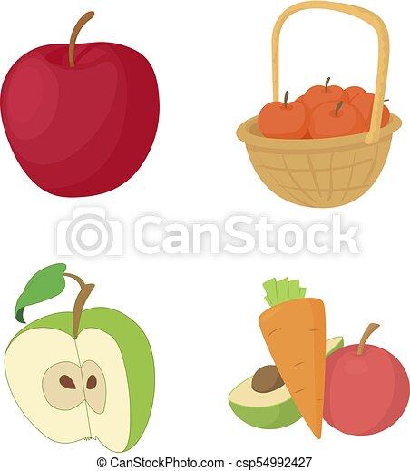 Apple icon set, cartoon style - csp54992427