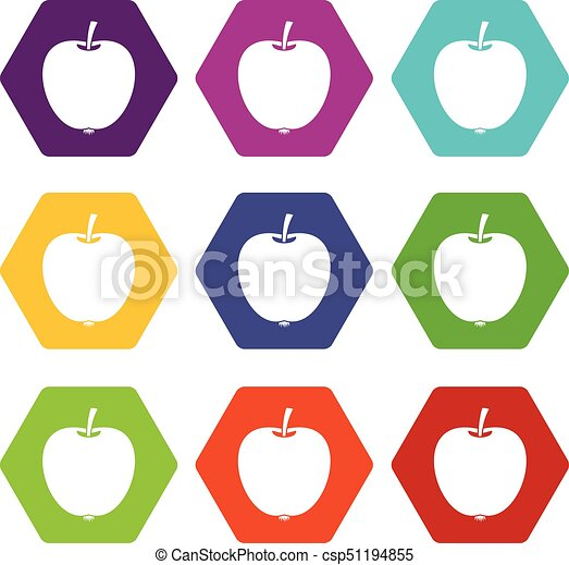 Apple icon set color hexahedron - csp51194855