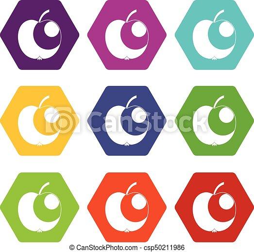 Apple icon set color hexahedron - csp50211986