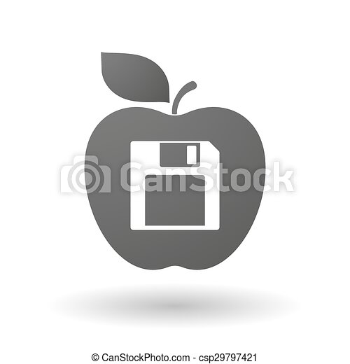 Apple icon with a floppy disk - csp29797421
