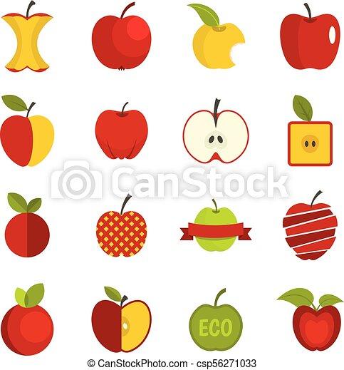 Apple icons set vector flat