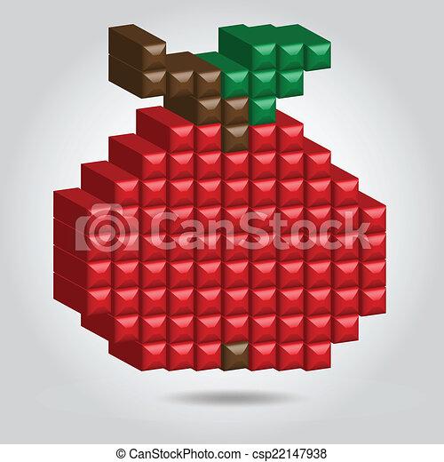 Apple in Pixel Style  - csp22147938