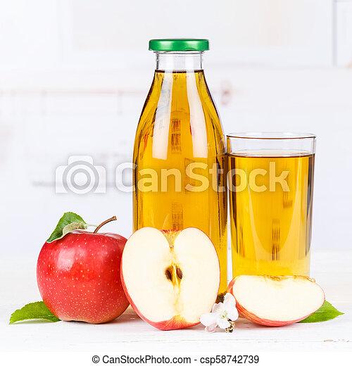 Apple juice apples fruit fruits bottle square copyspace - csp58742739