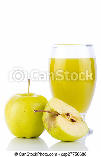 Apple juice in glass and green apples - csp27756688