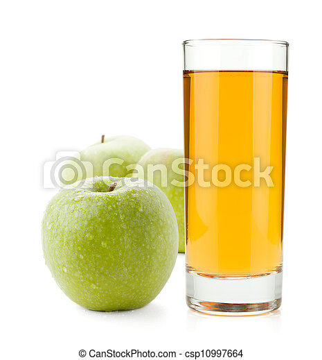 Apple juice in glass and green apples - csp10997664