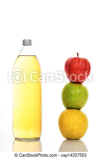 Apple juice in glass bottle - csp14337553