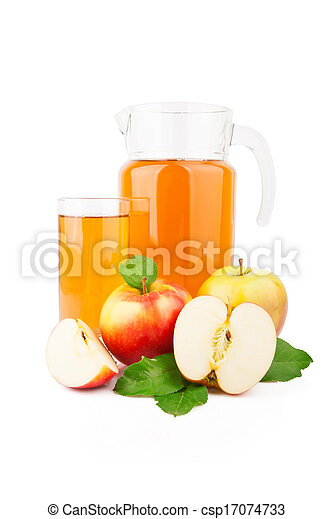 Apple juice in glass jar - csp17074733
