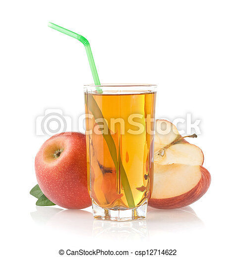 apple juice in glass on white - csp12714622
