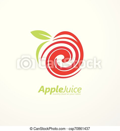apple juice logo design concept with apple fruit and juice liquid swirl in negative space creative symbol idea for food and https www canstockphoto com apple juice logo design concept 70861437 html