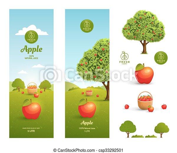 Apple juice packaging - csp33292501