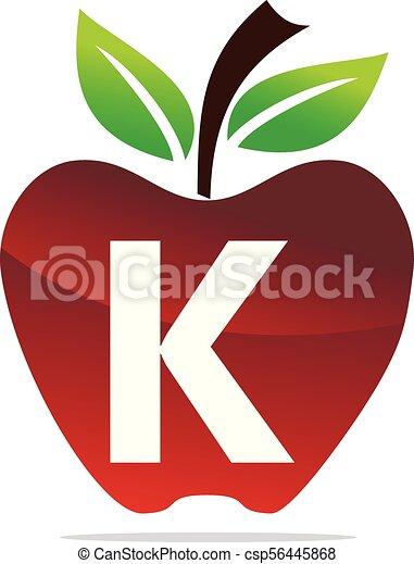 apple letter k logo design template vector
