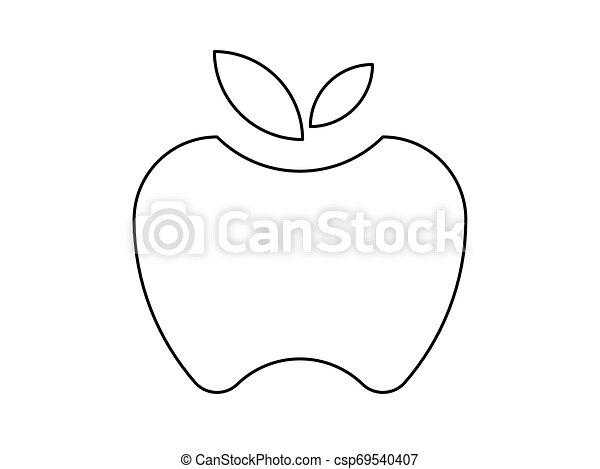 Apple line illustration vector on white background. - csp69540407
