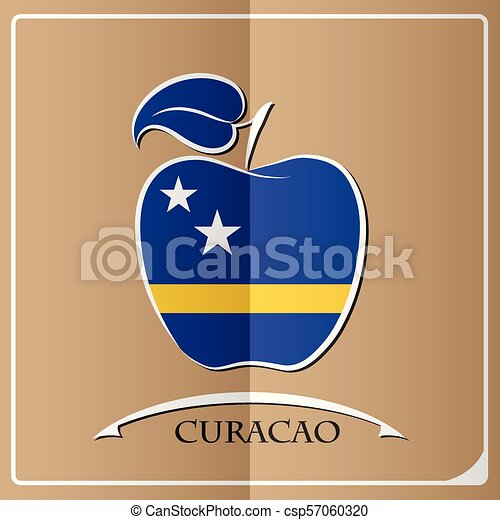 apple logo made from the flag of Curacao - csp57060320
