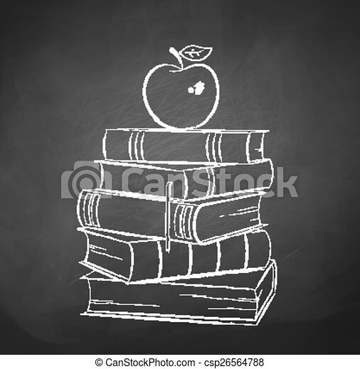 Apple on books. chalkboard drawing. vector illustration ...