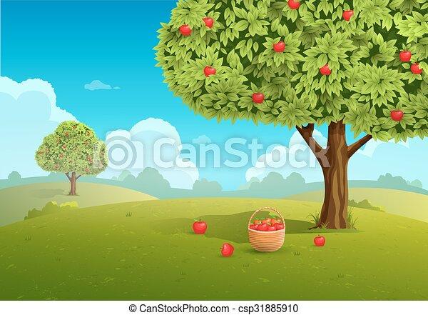 Apple orchard illustration - csp31885910