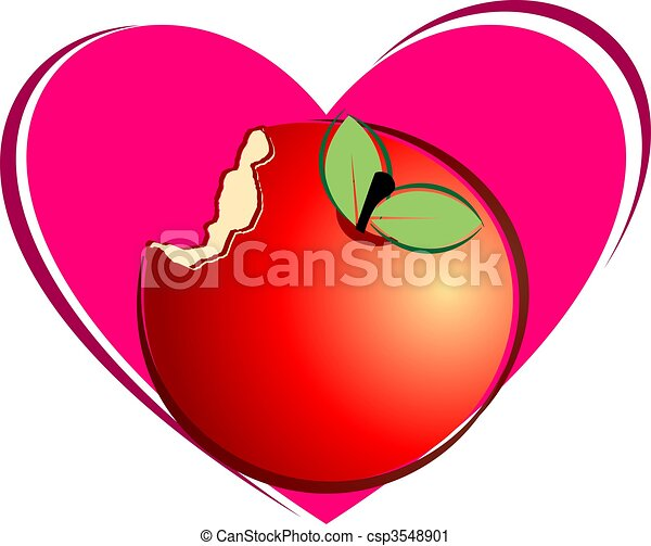 Illustration Of Apple Peace And Love Symbol