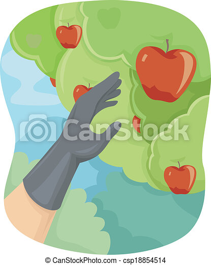 apple picking illustration featuring a hand picking apples rh canstockphoto com Clip Art of Apple's Vintage Apple Clip Art