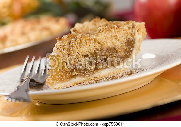 Apple Pie Slice with Crumb Topping - csp7553611