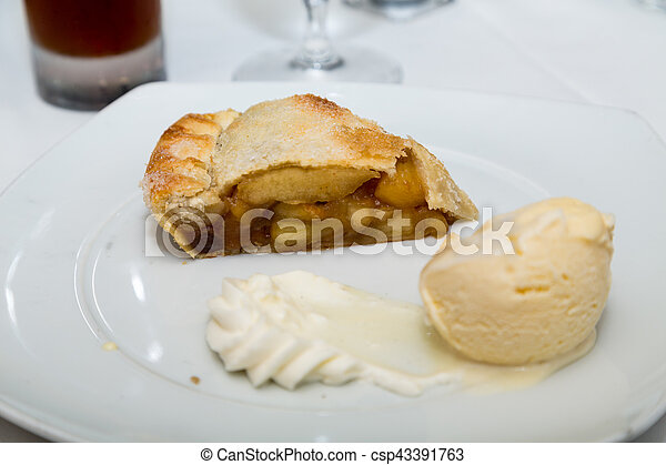 Apple Pie with Ice and Whipped Cream - csp43391763