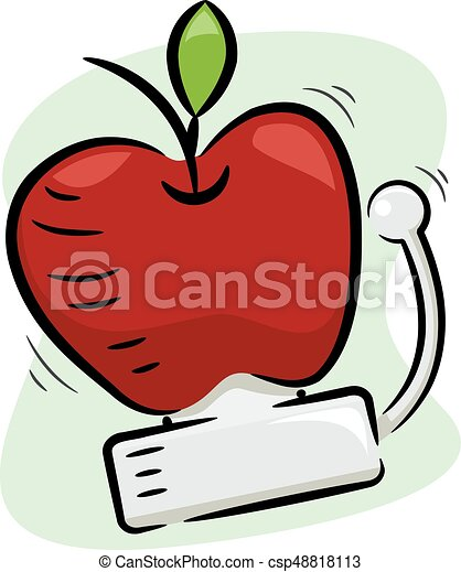 Apple School Bell Illustration - csp48818113