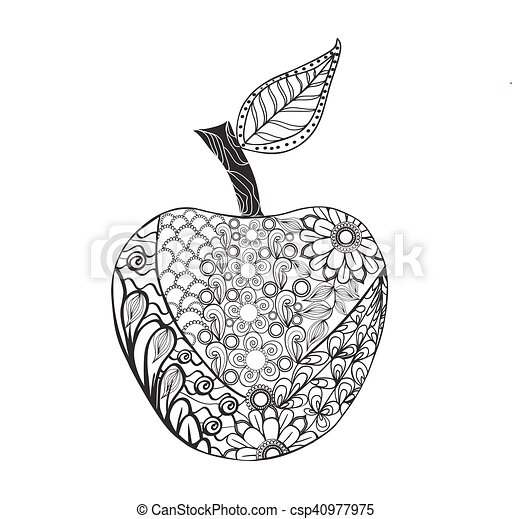 Vector monochrome apple style for coloring book. hand drawn ...