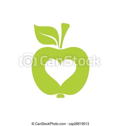 Apple Symbol Of Healthy Heart Green Vector Apple Icon Symbol Of