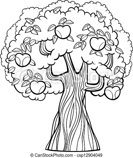 Apple tree cartoon for coloring book. Black and white cartoon ...