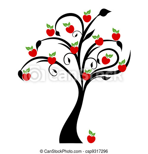 beautiful apple tree isolated on white background clip art vector rh canstockphoto com clip art apple tree leaf apple tree clipart