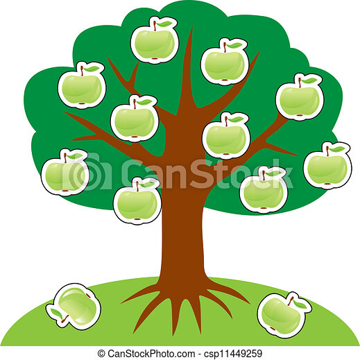 Apple Tree On A Hill Hung With Green Apples