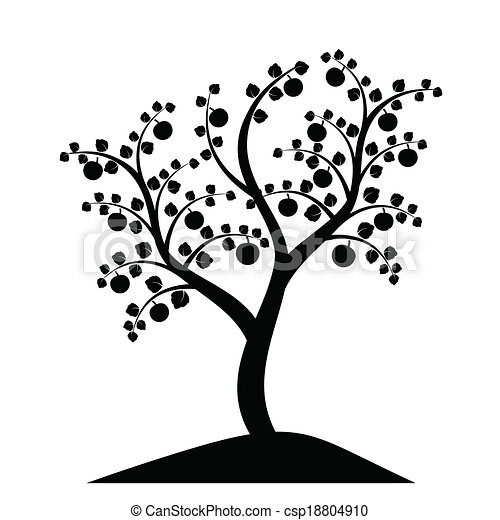 apple tree silhouette vector