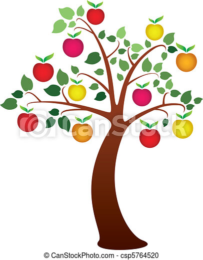 vector apple tree with fruits rh canstockphoto com clipart images of apple tree clip art apple tree images