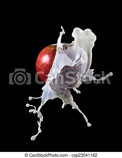 apple with milk splash - csp23041162