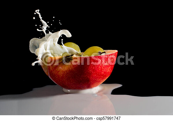 apple with milk splash - csp57991747