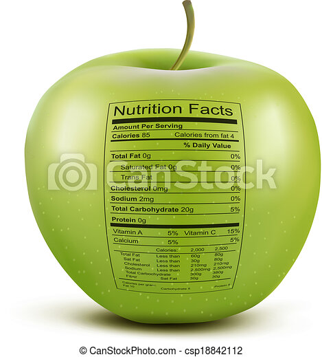Apple with nutrition facts label. Concept of healthy food. Vector. - csp18842112