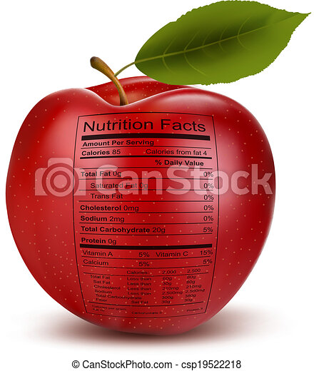 Apple with nutrition facts label. Concept of healthy food. Vector. - csp19522218