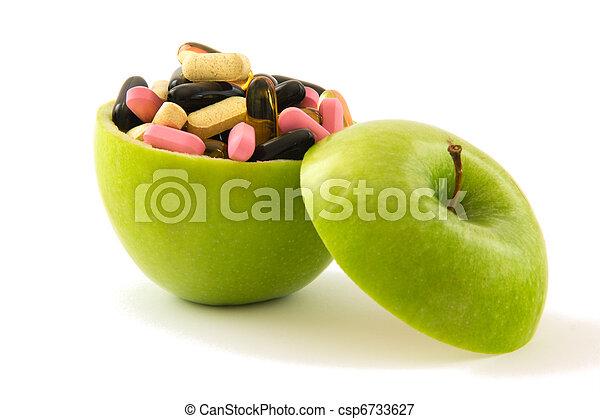 Apple with pills - csp6733627