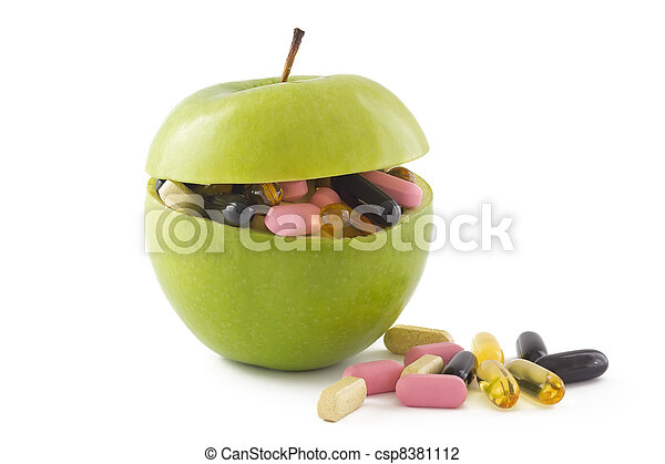 Apple with pills - csp8381112