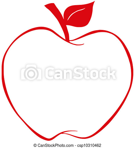 Apple With Red Outline - csp10310462