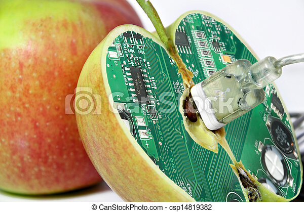 Apple with technology core - csp14819382