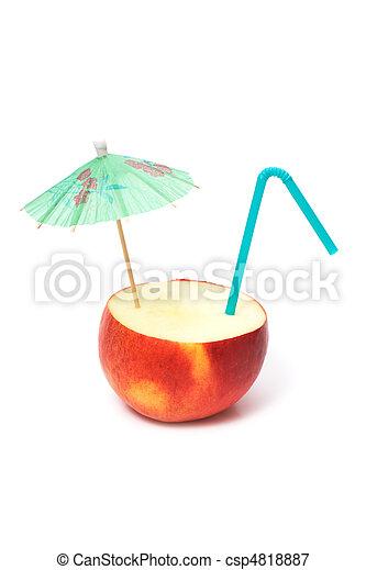 apple with umbrella and straw - csp4818887