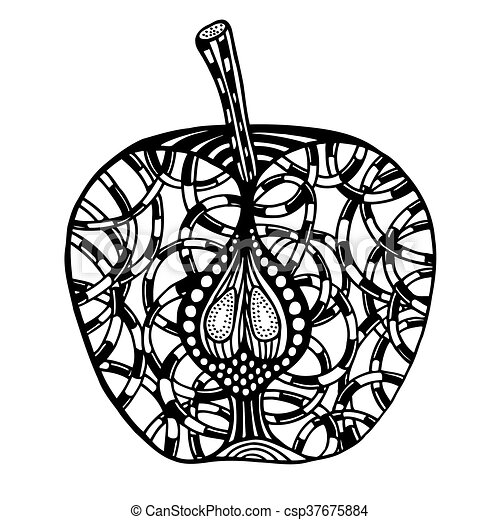 Apple Zentangle Pattern For Coloring Book Vector