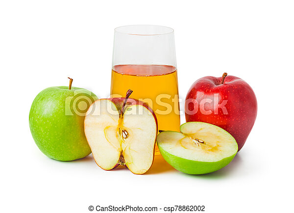 Apples and glass of juice - csp78862002