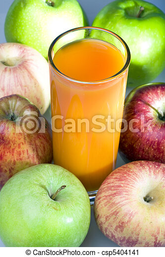 Apples and juice in glass - csp5404141