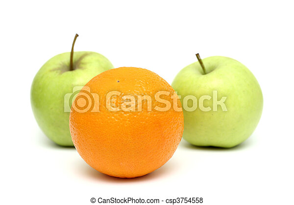 apples and oranges mixed, orange standin out from the crowd - csp3754558