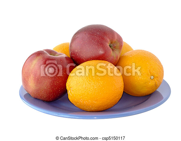 Apples and oranges on a plate - csp5150117