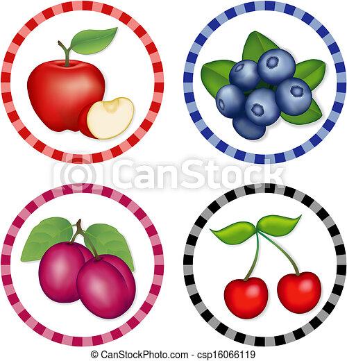 Apples, Blueberry, Cherries, Plums - csp16066119