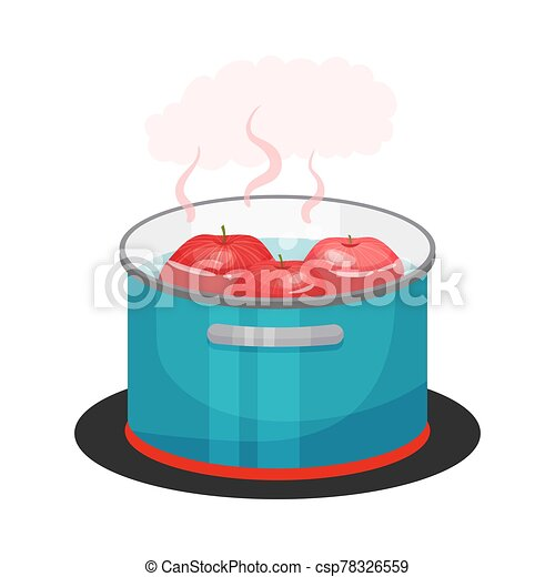 Apples Boiling in Cooking Pot Standing on Hot Plate Vector Illustration - csp78326559